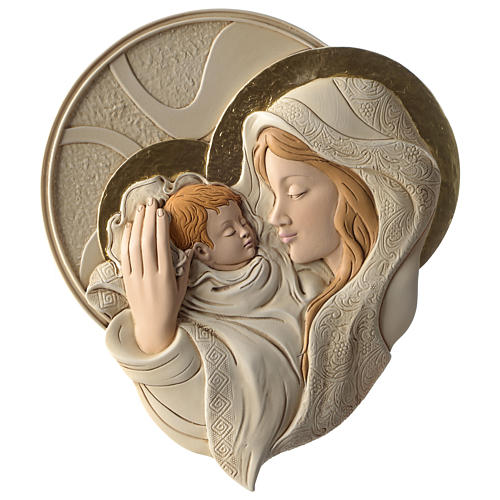 Płaskorzeźba okrągła Maryja i Dzieciątko żywica kolorowa 1