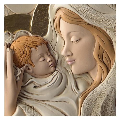 Płaskorzeźba okrągła Maryja i Dzieciątko żywica kolorowa 2