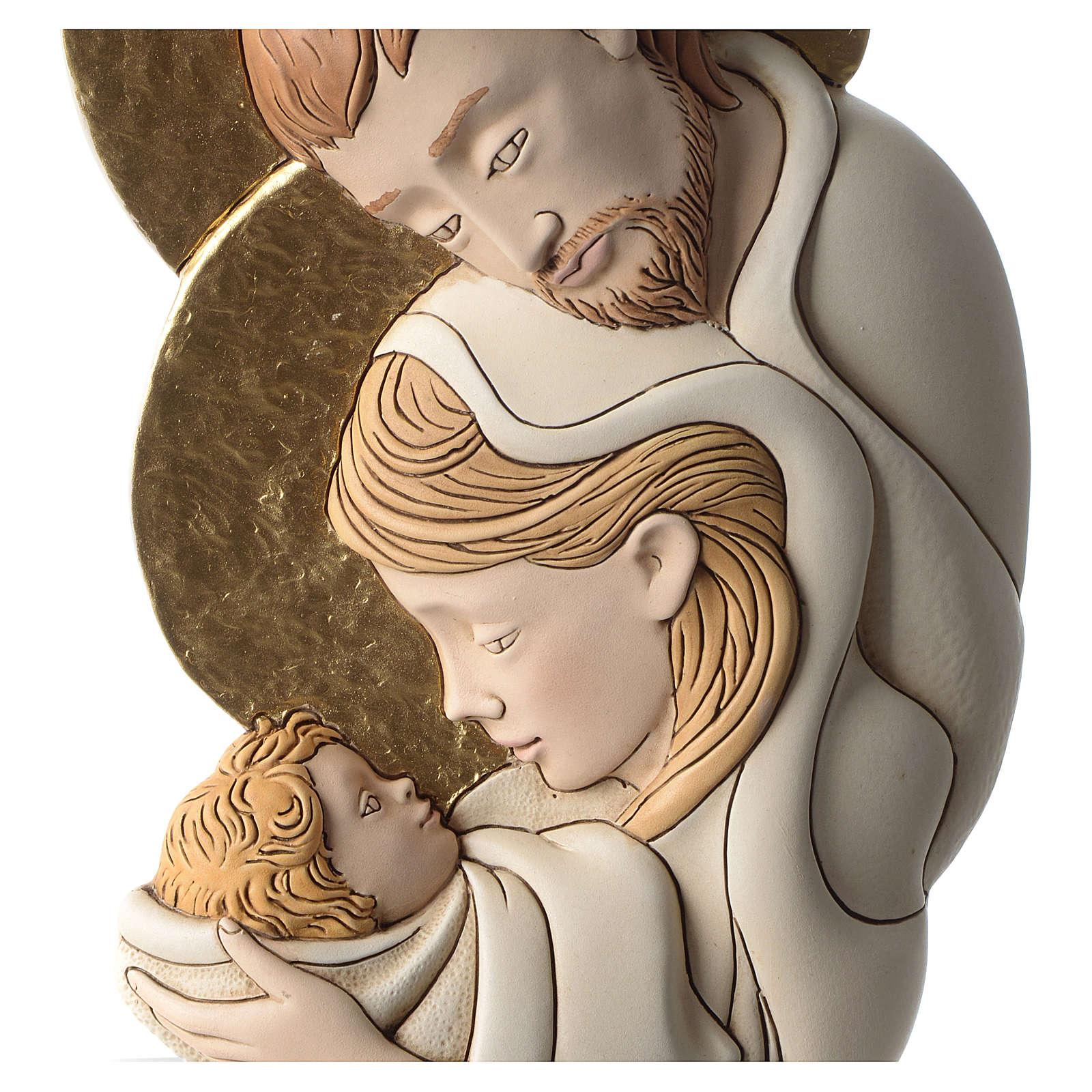 Bassorilievo della Sacra Famiglia resina colorata sagoma 3