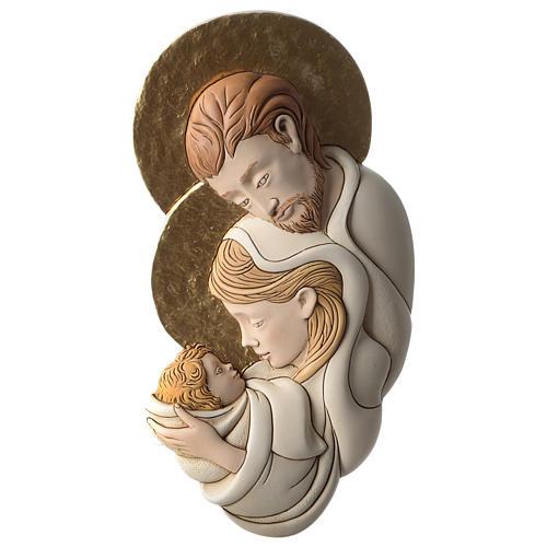 Bassorilievo della Sacra Famiglia resina colorata sagoma 1