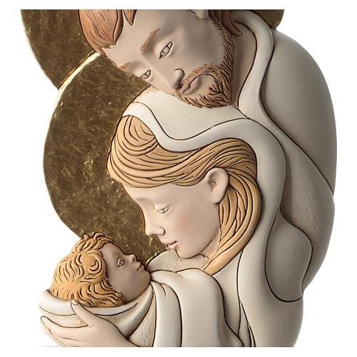 Bassorilievo della Sacra Famiglia resina colorata sagoma 2