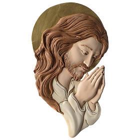 Bassorilievo profilo del Volto di Cristo resina colorata s1