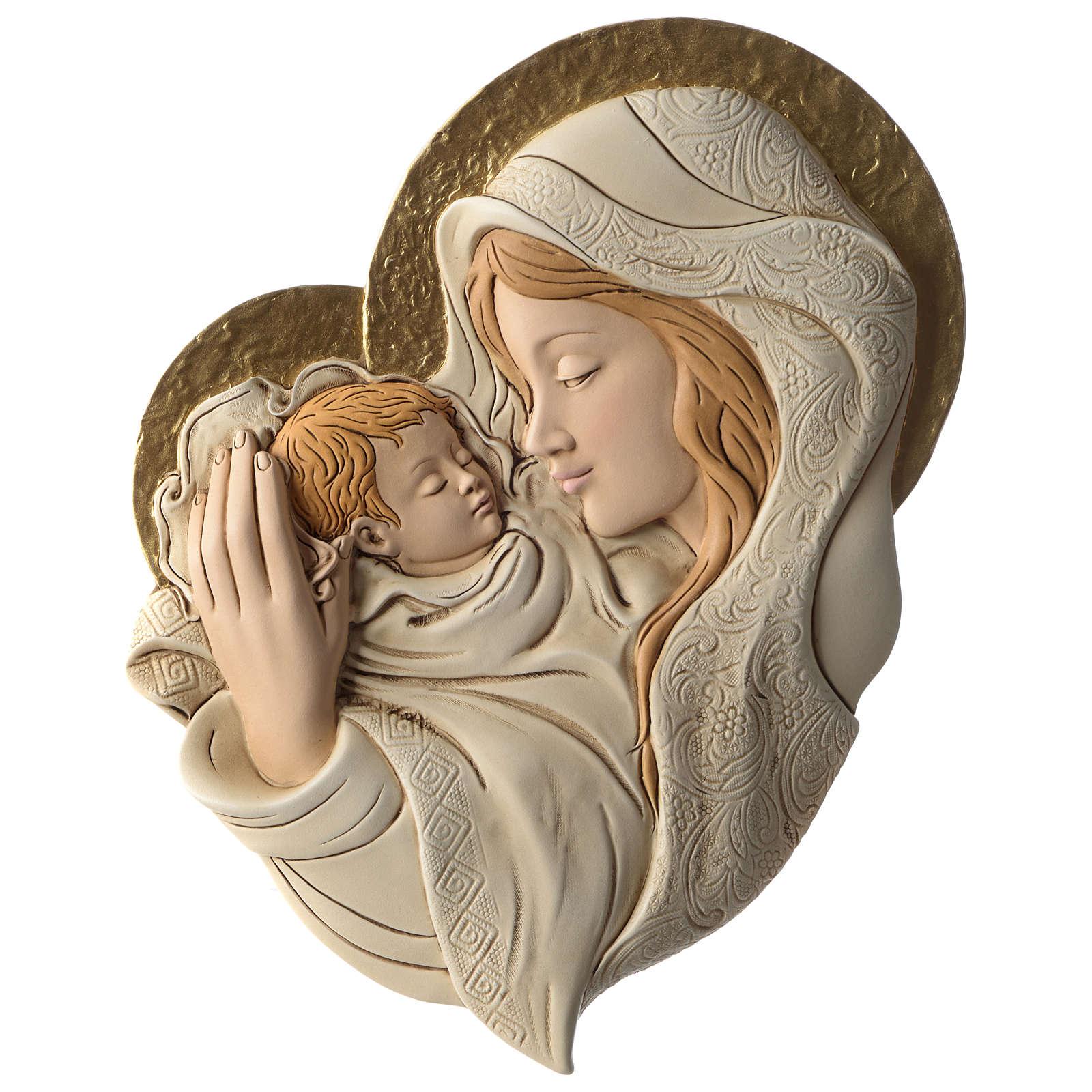 Bassorilievo abbraccio Maria e Bambino resina colorata 3