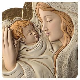 Bassorilievo abbraccio Maria e Bambino resina colorata s2