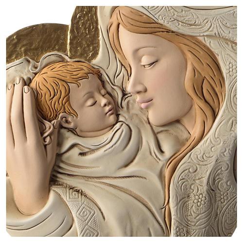 Bassorilievo abbraccio Maria e Bambino resina colorata 2