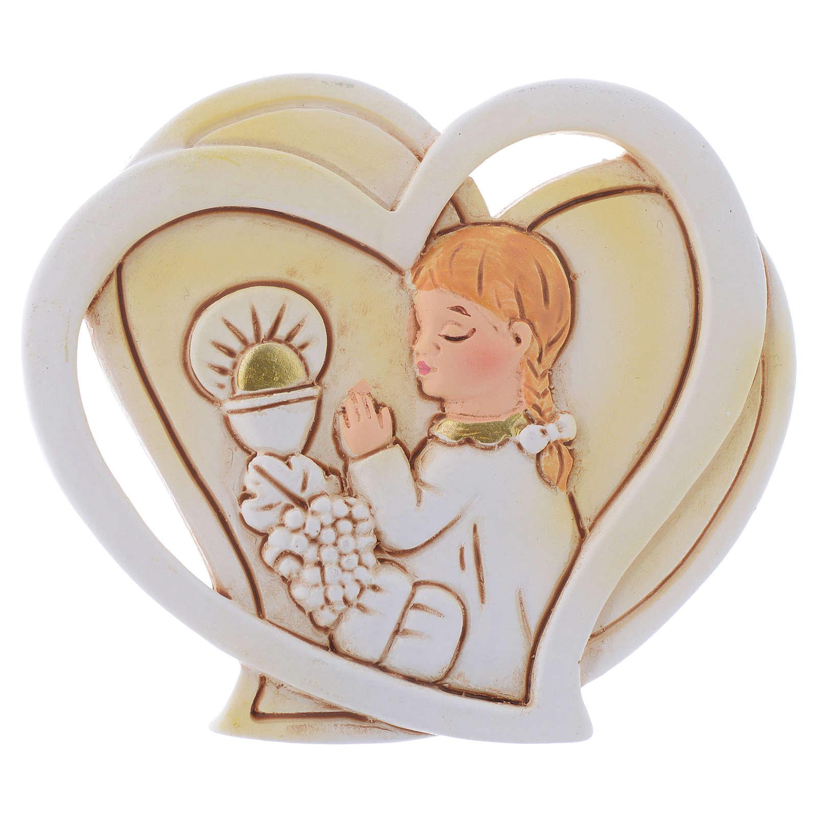 Ricordino Bambina Comunione cuore cm 5 3