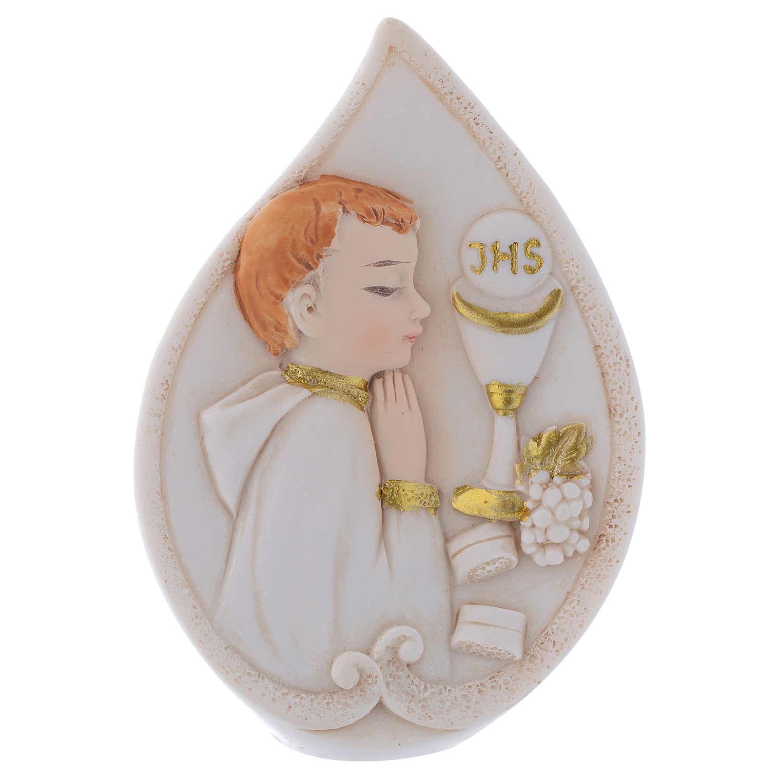 Bonbonnière Communion goutte avec Garçon 8,5 cm 3