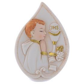 Bonbonnière Communion goutte avec Garçon 8,5 cm s1