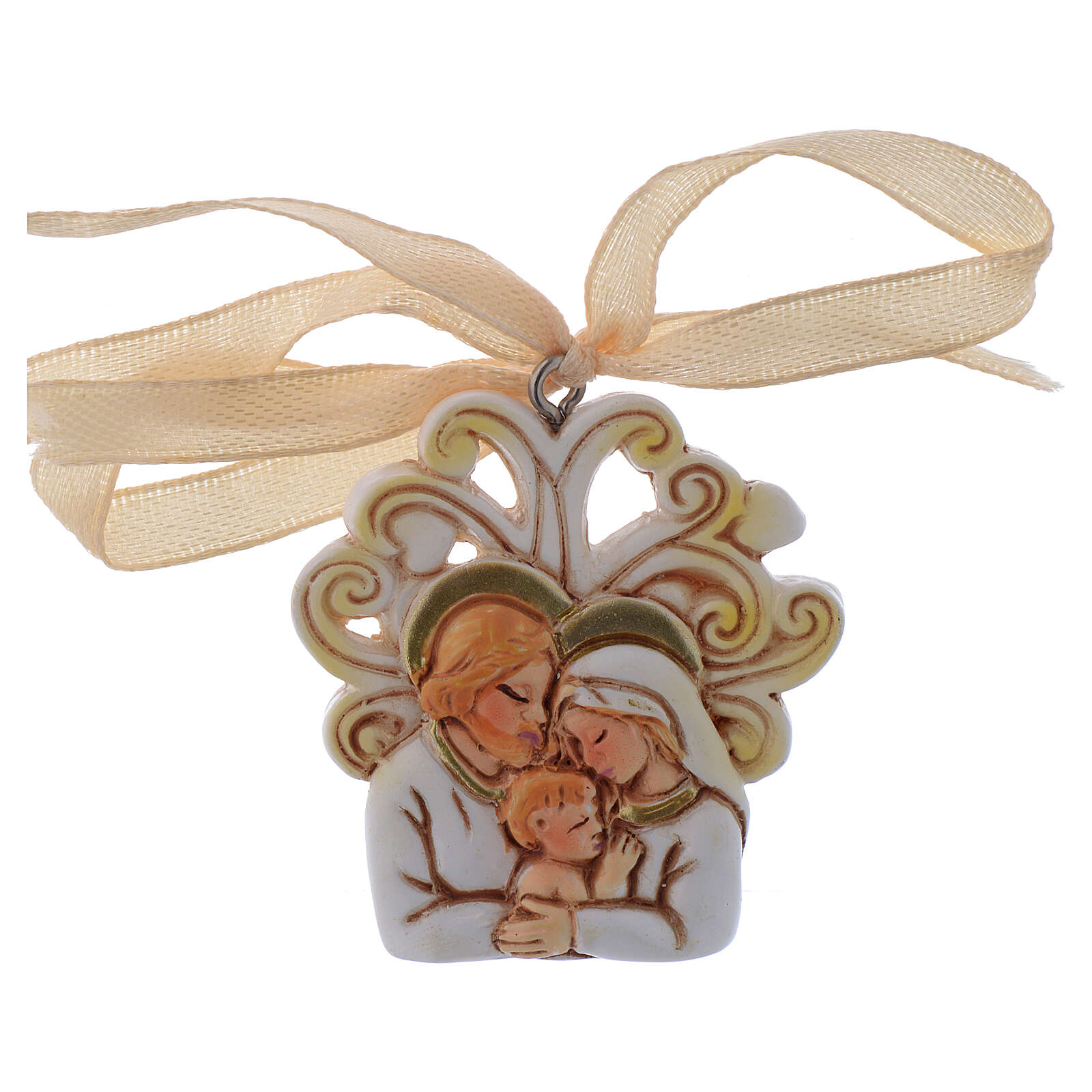 Pendant Holy Family marble dust 2 in 3