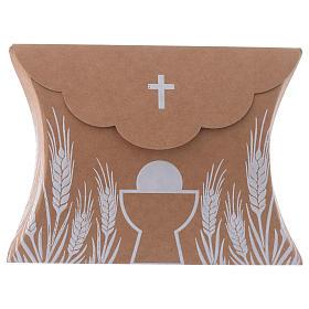 Boîte bonbonnière Communion impression en blanc h 8 cm s1