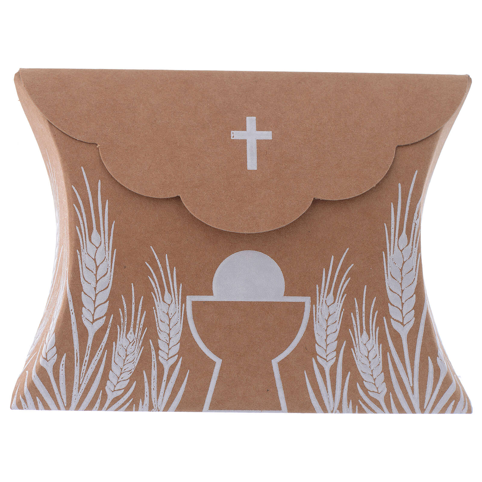 Communion gift box brown paperboard h 3.35 in 3