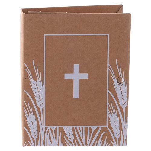 Cajita Recuerdo Estampa Cruz modelo Libro, alt. 7 cm 1