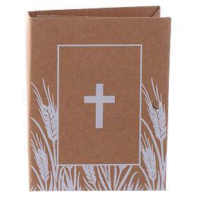 Pudełeczko pamiątkowe książka z nadrukiem krzyża h 7 cm s1