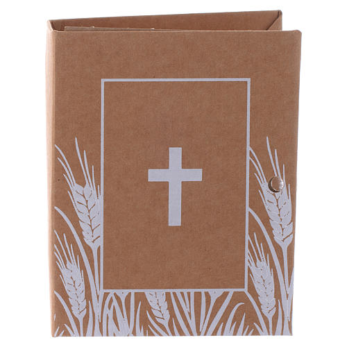 Pudełeczko pamiątkowe książka z nadrukiem krzyża h 7 cm 1