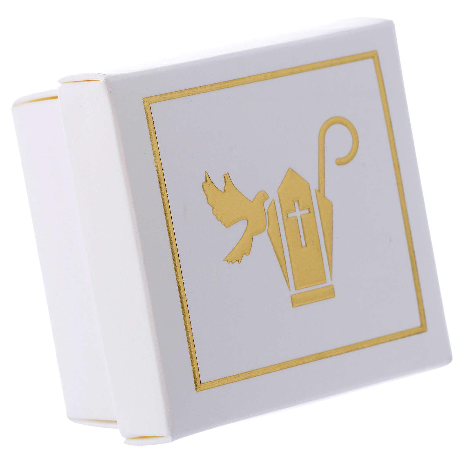 Cajita Recuerdo Confirmación Blanco Oro 6x6x3,5 cm 3