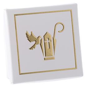 Scatolina Ricordino della Cresima bianco oro 6x6 cm s2