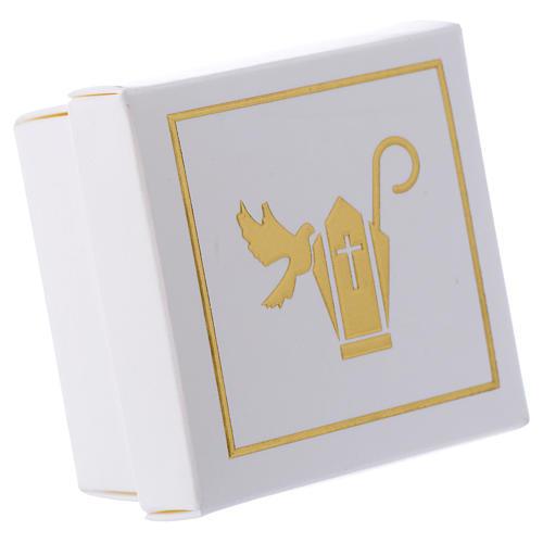 Scatolina Ricordino della Cresima bianco oro 6x6 cm 1