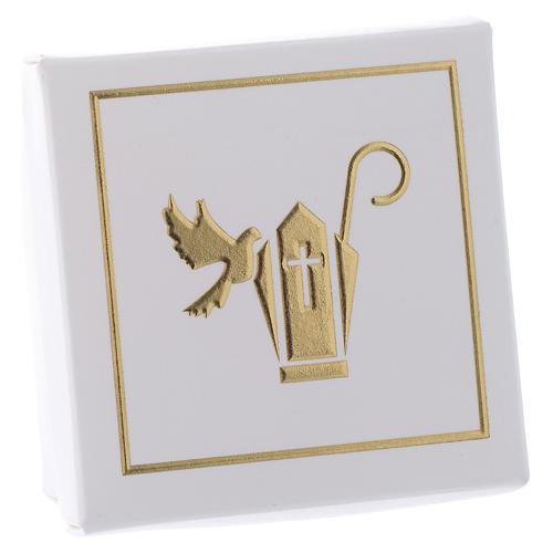 Scatolina Ricordino della Cresima bianco oro 6x6 cm 2
