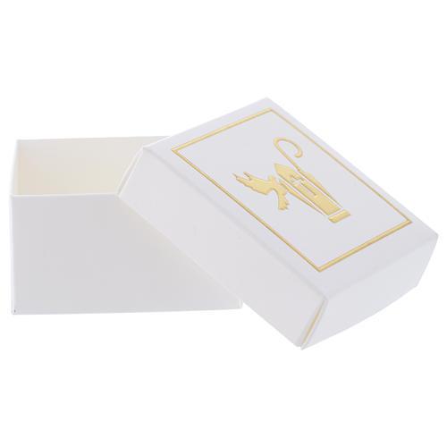 Scatolina Ricordino della Cresima bianco oro 6x6 cm 3