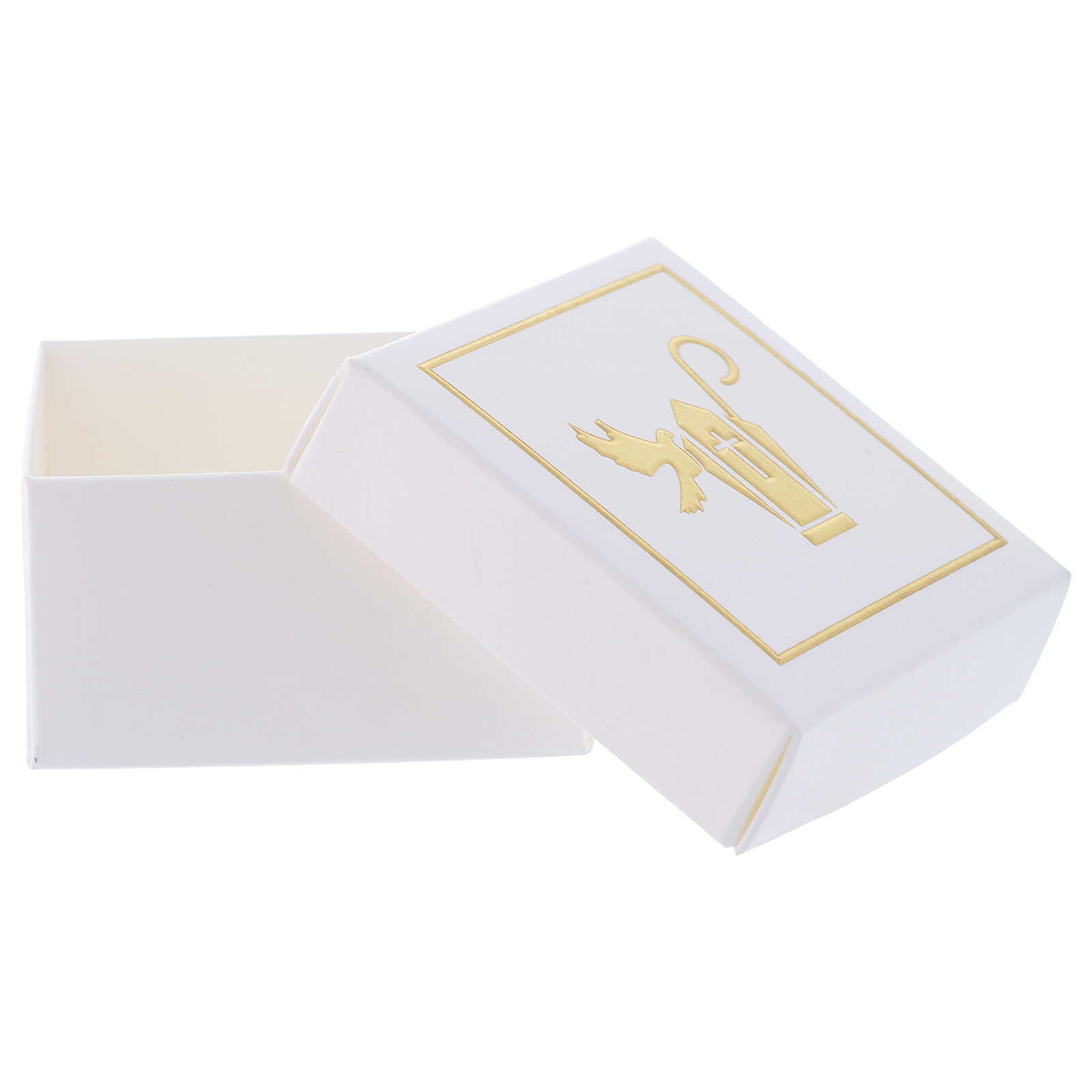 Gift box Confirmation favor white and gold 2.5x2.5 in 3