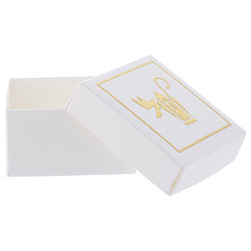 Gift box Confirmation favor white and gold 2.5x2.5 in s3