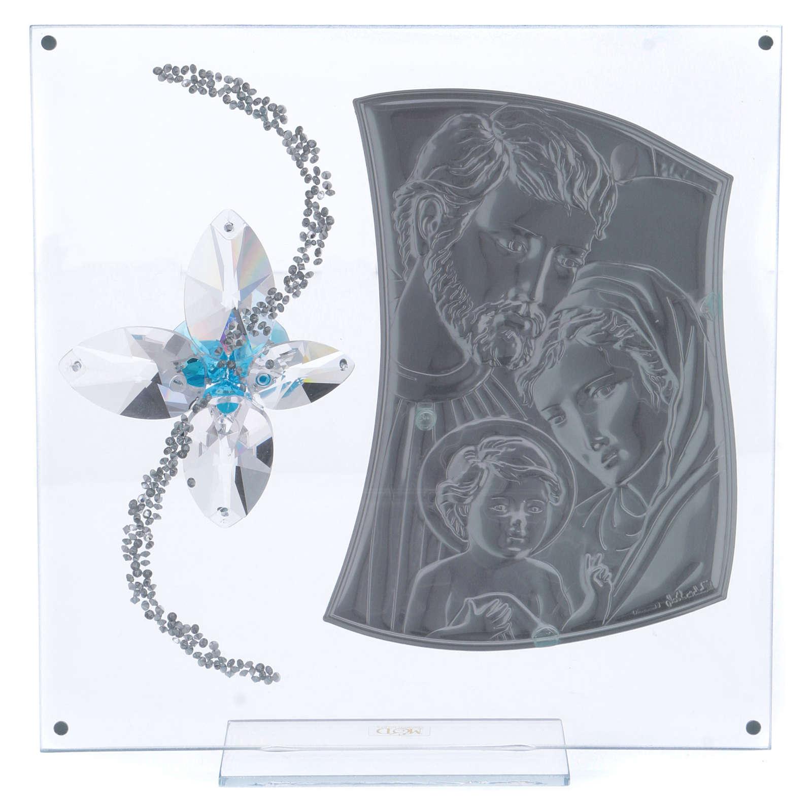 Idea regalo immagine S. Famiglia e fiore azzurro 25x25 cm 3
