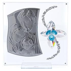 Idea regalo immagine S. Famiglia e fiore azzurro 25x25 cm s1
