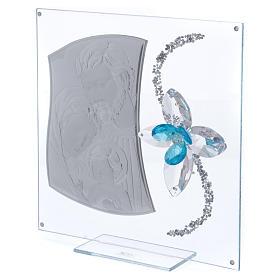 Idea regalo immagine S. Famiglia e fiore azzurro 25x25 cm s2