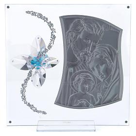 Idea regalo immagine S. Famiglia e fiore azzurro 25x25 cm s3