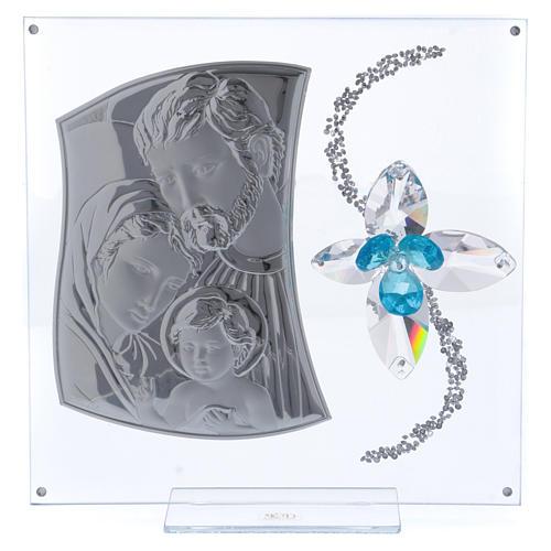 Idea regalo immagine S. Famiglia e fiore azzurro 25x25 cm 1