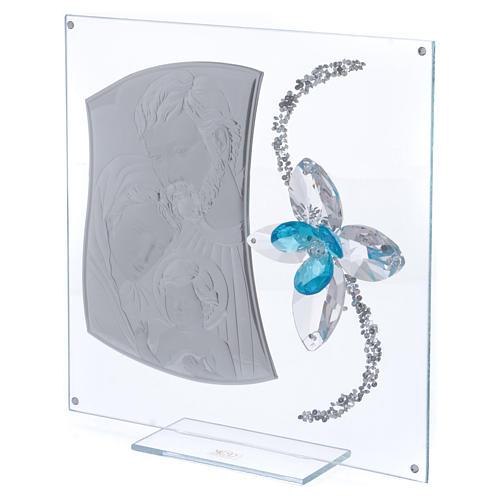 Idea regalo immagine S. Famiglia e fiore azzurro 25x25 cm 2