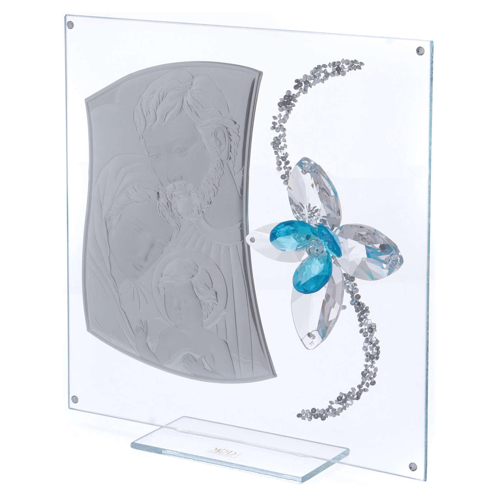 Dica de presente imagem S. Família e flor azul 25x25 cm 3