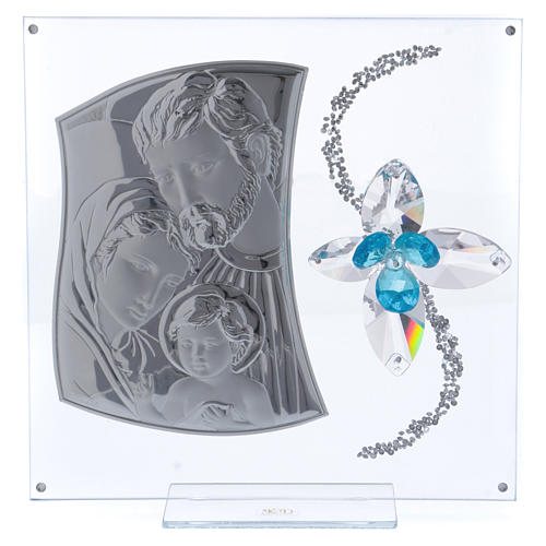 Dica de presente imagem S. Família e flor azul 25x25 cm 1