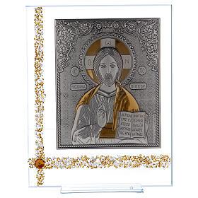 Cuadrito Icono Cristo Pantocrátor sobre lámina plata 25x20 cm s1