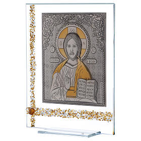 Cuadrito Icono Cristo Pantocrátor sobre lámina plata 25x20 cm s2