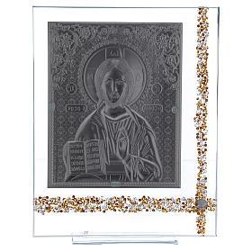 Cuadrito Icono Cristo Pantocrátor sobre lámina plata 25x20 cm s3
