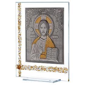 Quadretto Icona Cristo Pantocratore su lamina argento 25x20 cm s2