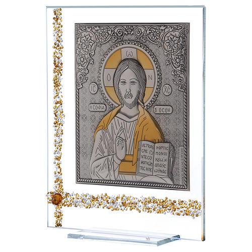 Quadretto Icona Cristo Pantocratore su lamina argento 25x20 cm 2