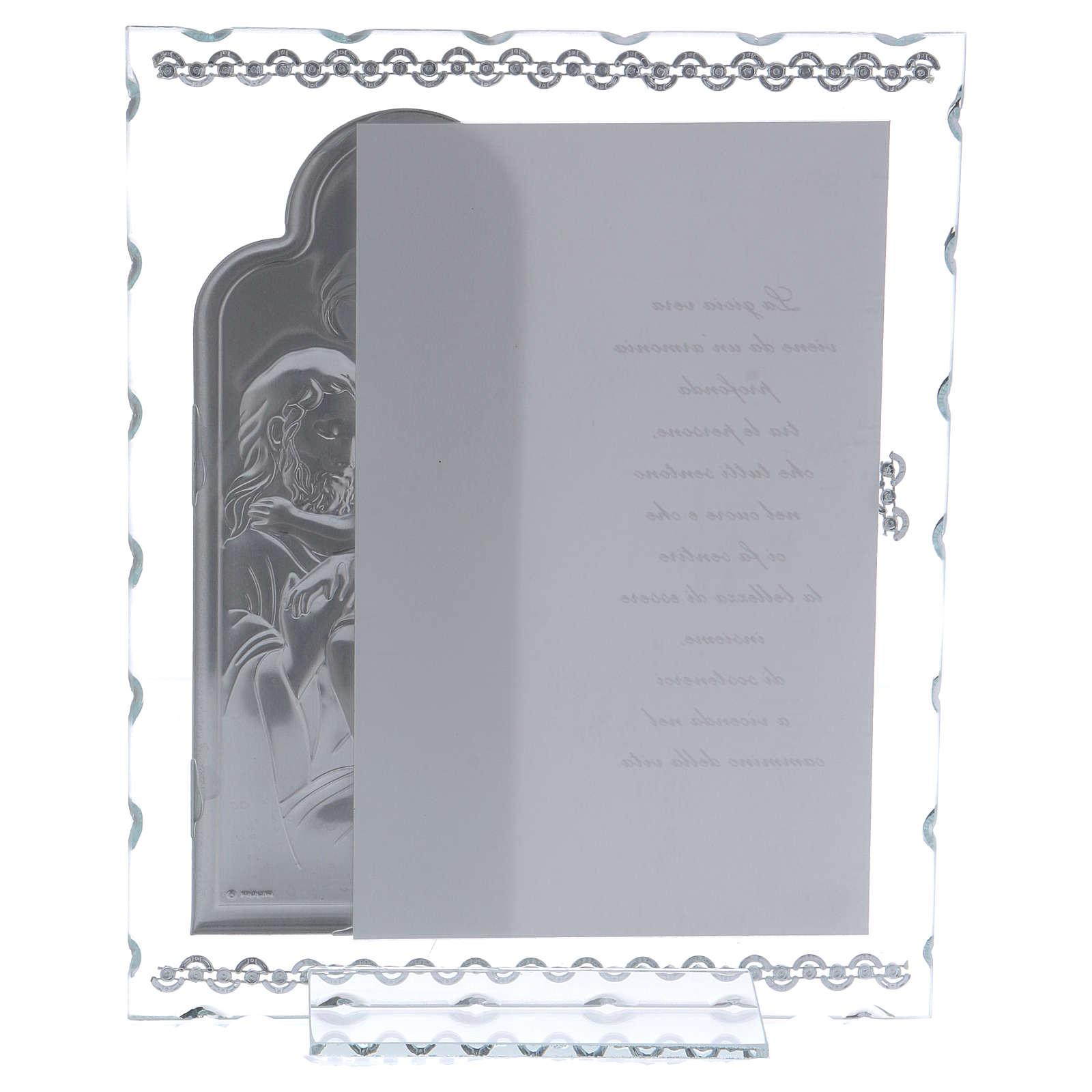 Idea regalo quadro Sacra Famiglia e preghiera lamina argento 25x20 cm 3