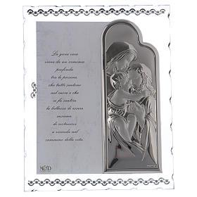 Idea regalo quadro Sacra Famiglia e preghiera lamina argento 25x20 cm s1