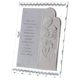 Idea regalo quadro Sacra Famiglia e preghiera lamina argento 25x20 cm s2