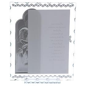 Idea regalo quadro Sacra Famiglia e preghiera lamina argento 25x20 cm s3