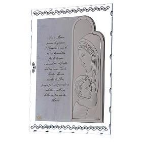 Quadretto Maternità con lamina argento e preghiera 25x20 cm s2