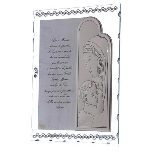 Quadretto Maternità con lamina argento e preghiera 25x20 cm 2