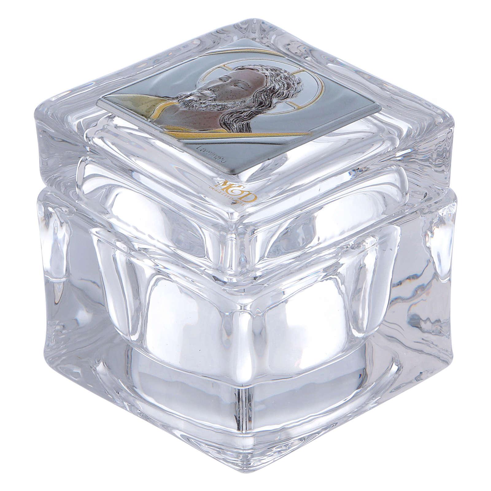 Bonbonnière religieuse boîte avec visage de Christ 5x5x5 cm 3