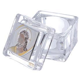 Bonbonnière religieuse boîte avec visage de Christ 5x5x5 cm s2