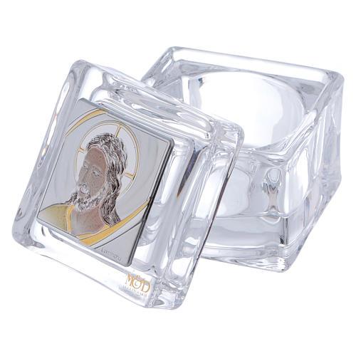 Bonbonnière religieuse boîte avec visage de Christ 5x5x5 cm 2