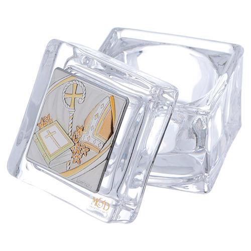 Bonbonnière religieuse pour Confirmation boîte 5x5x5 cm 2