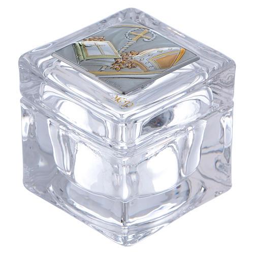 Pamiątka sakralna na Bierzmowanie pudełeczko 5x5x5 cm 1
