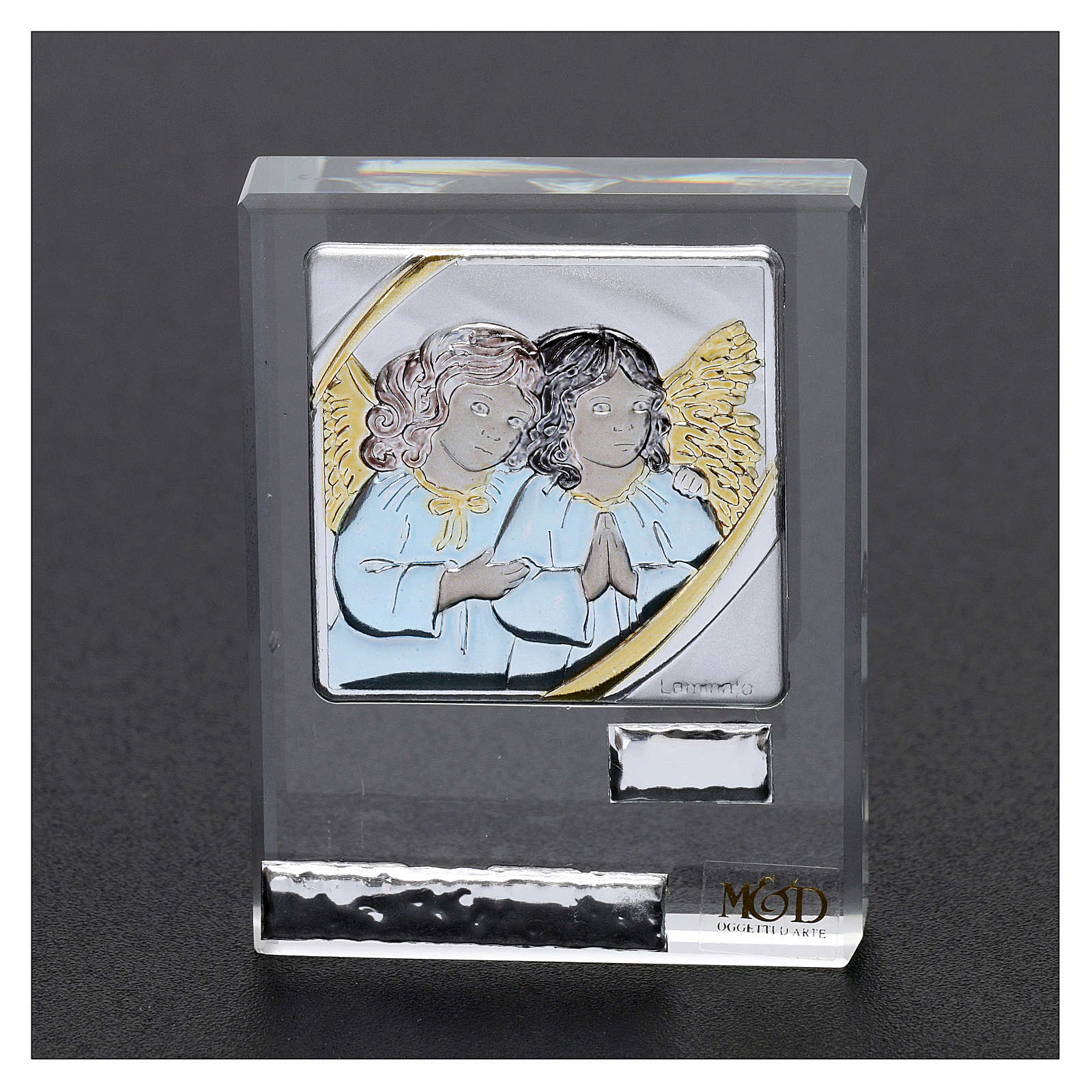 Bombonera Bautismo icono Angelitos coloreados 5x5 cm 3